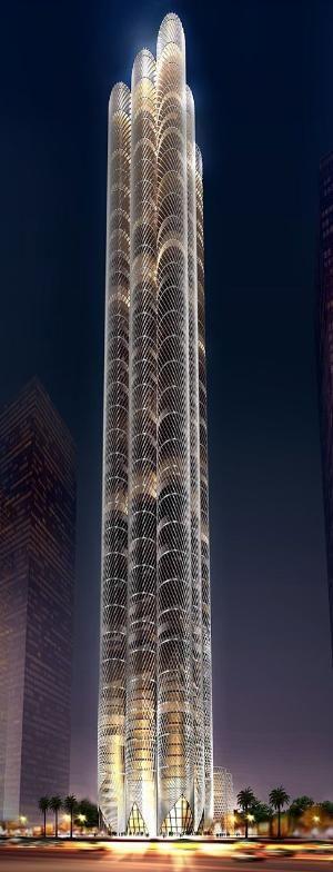 Al Sharq Tower Dubai Uae By Skidmore Owiings Merrill Som Architects 100 Floors Height 36 Dynamic Architecture Dubai Architecture Unique Architecture