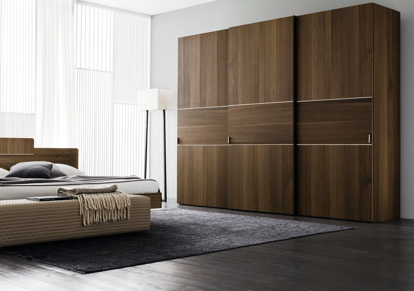 oak finish three door sliding wardrobe design id564 three door