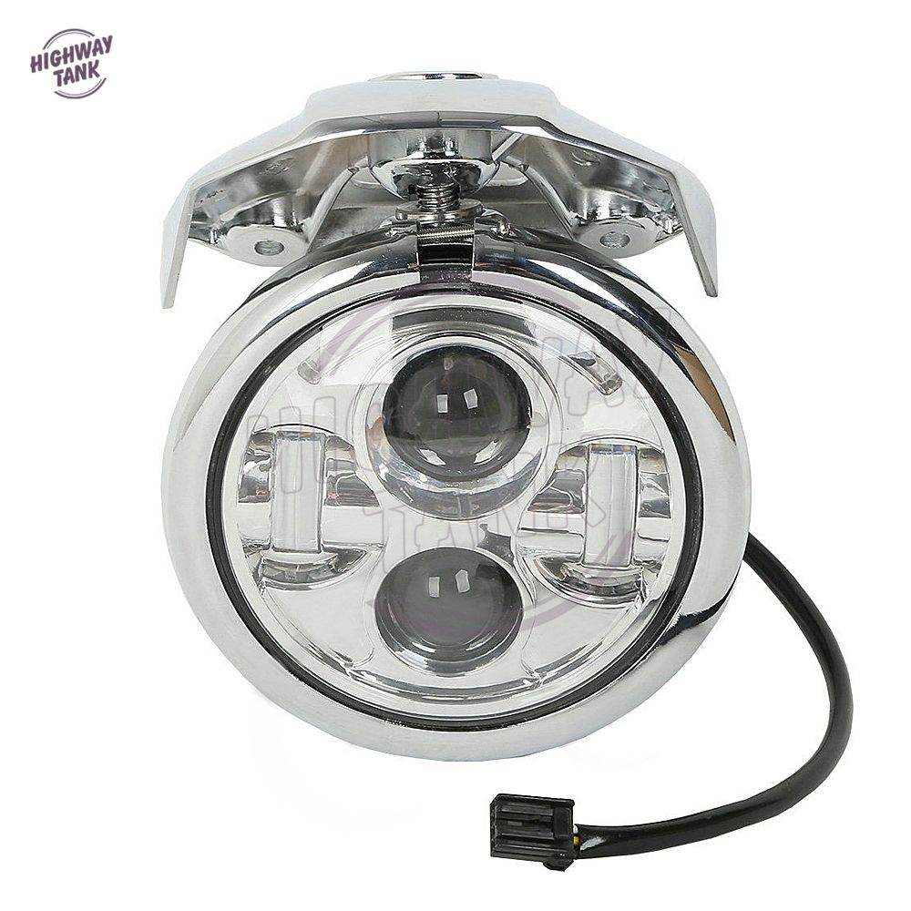 5 3 4 chrome motorcycle daymaker led headlight visor for Housse moto harley davidson