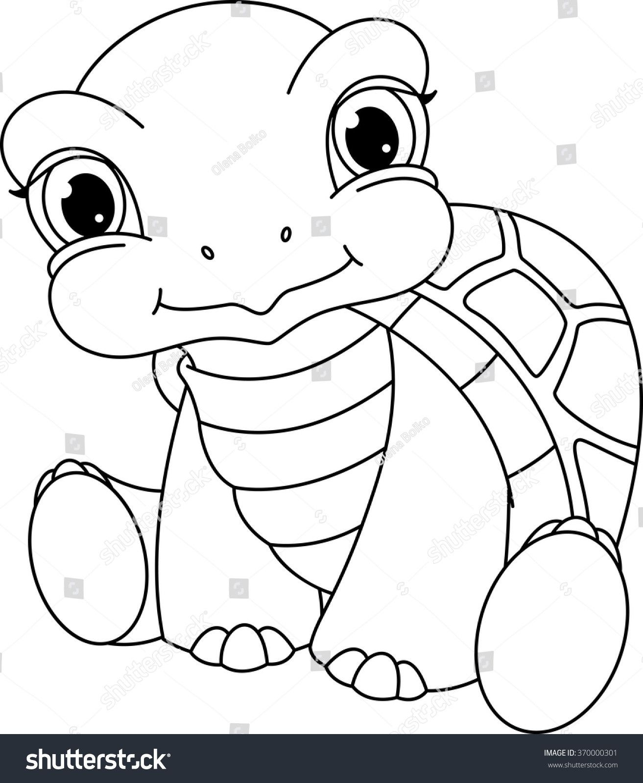 Baby Turtle Coloring Page - youngandtae.com  Turtle drawing