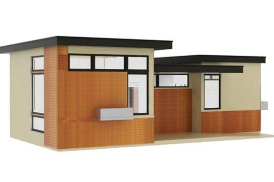 Plano de casa moderna y peque a de 1 dormitorio y 50 m2 for Casa moderna 140 m2