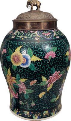 Chinese Ceramic Famille Noir Ginger Jar C 1880 Chinese Famille Ginger Jars Jar Chinese