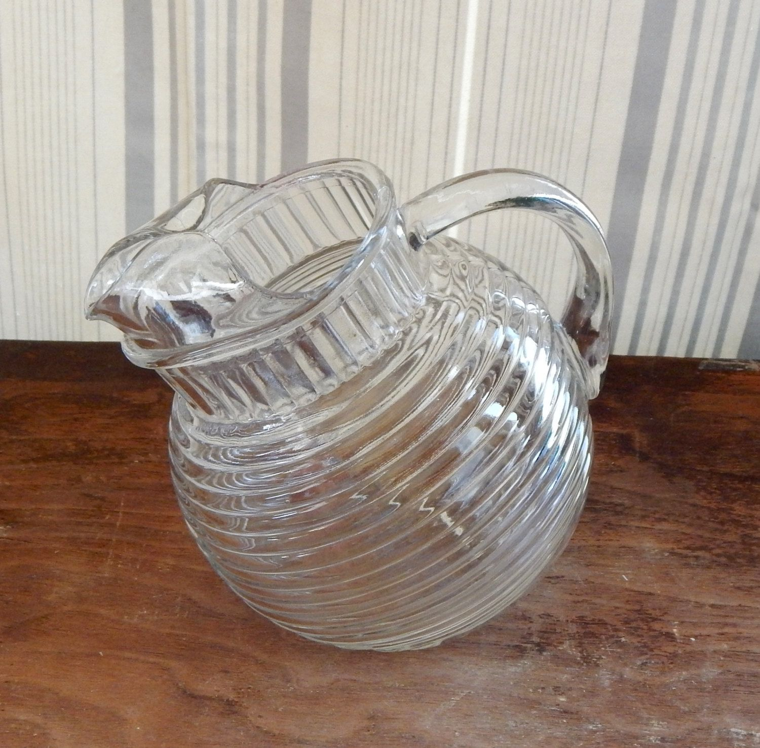 Vintage Glass Pitcher Tilted Ball Clear Ribbed Art Deco Mid Etsy Vintage Glass Pitchers Glass Pitchers Pitcher
