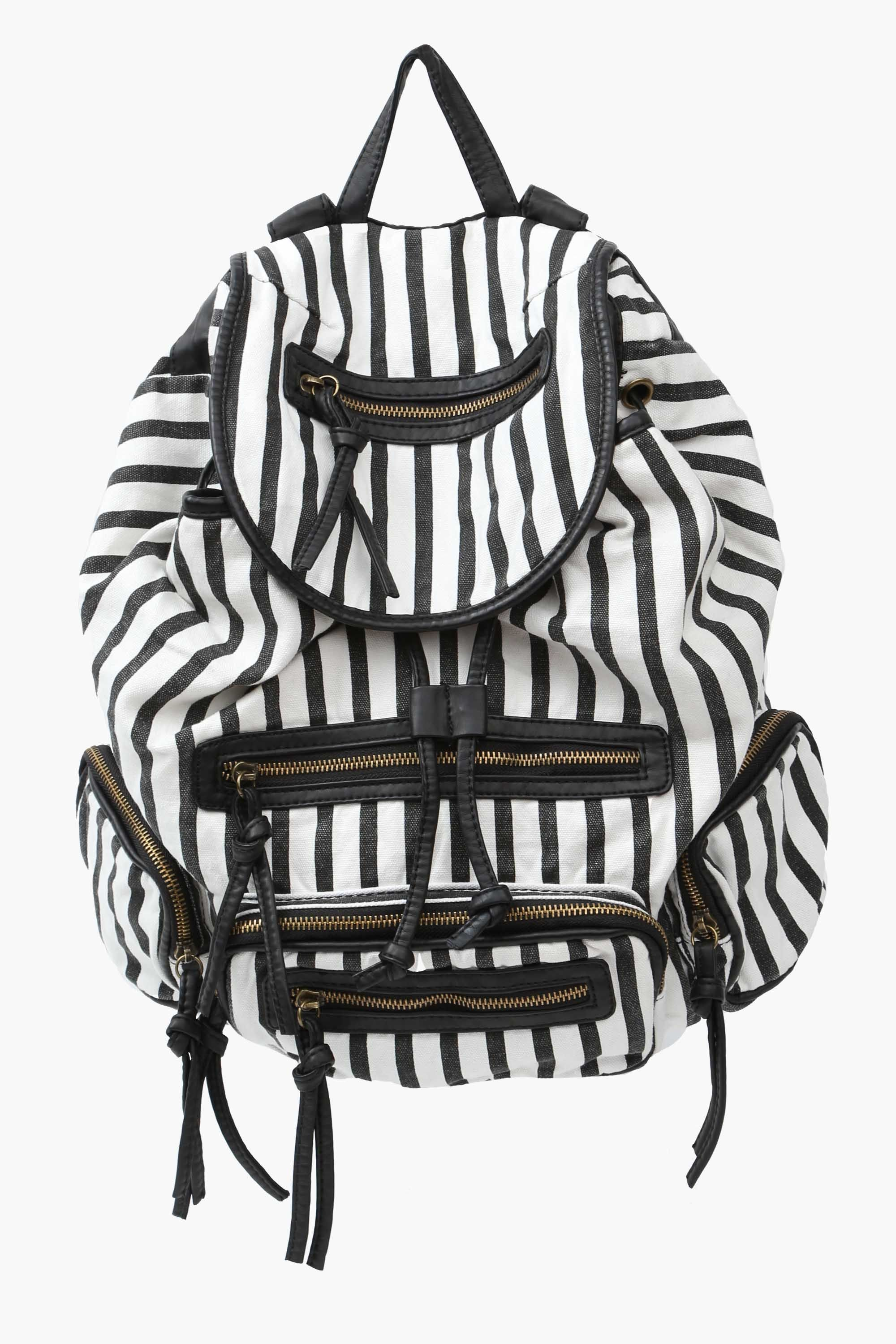 Striped Backpack Purse in White and Black