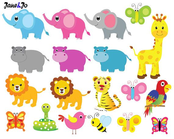 Jungle Animals Clipart And Digital Paper Jungle Clipart Etsy Jungle Animals Clipart Animals Clipart Animal Clipart Free