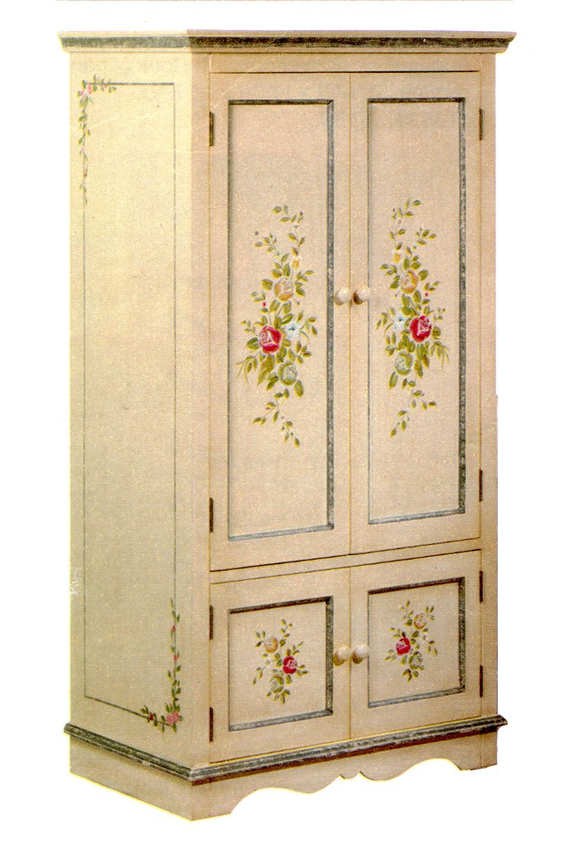 Hand Painted Armoire/Media Cabinet