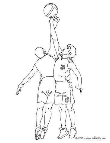 Basketball players in action coloring page. More sports coloring ...