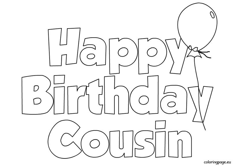 Happy Birthday Cousin balloon Coloring Page Coloring Bdays