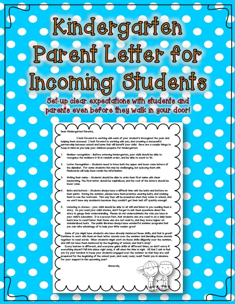 Kindergarten parent letter for incoming students - send this note ...