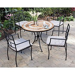 @Overstock - The Valencia five-piece outdoor dining set includes a terra cotta tile top table and four Cambria arm chairs. The table top features square terra cotta and triangular river stone tiles in a ringed pattern.http://www.overstock.com/Home-Garden/Valencia-Terra-Cotta-Tile-Top-Table-and-Cambria-Arm-Chairs-5-piece-Dining-Set/6695008/product.html?CID=214117 $652.99