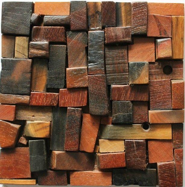 3d tile backsplash 3D tile backsplash natural wood modaic tile