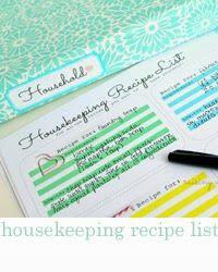 Free printable housekeeping recipe  sheet