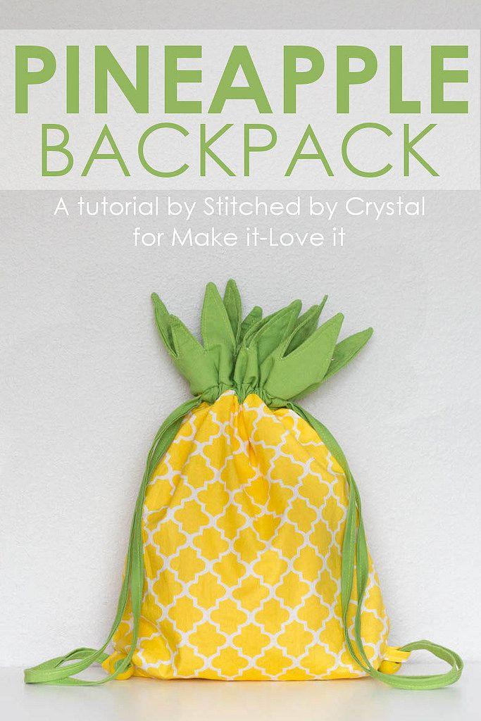 Pineapple Drawstring Backpack   Nähen   Pinterest   Nähen, Rucksack ...