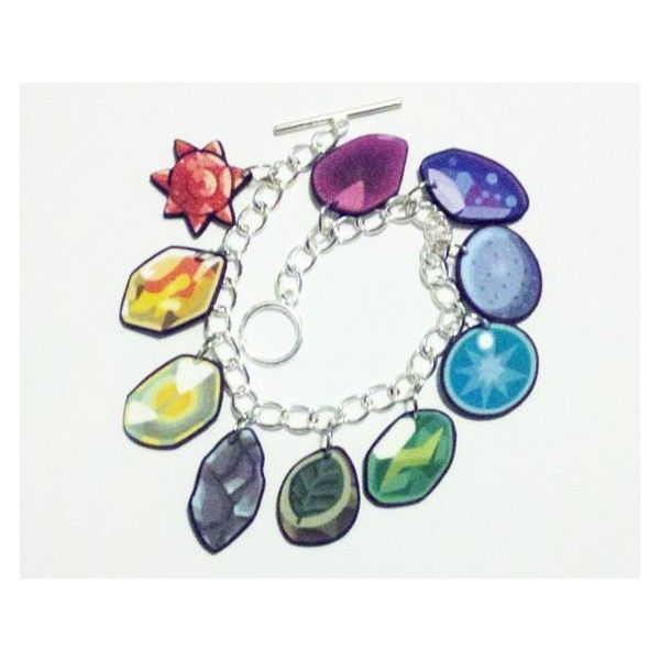 Pokemon Evolutionary Stone Charm Bracelet ❤ liked on Polyvore featuring jewelry, bracelets, charm bracelet, chains jewelry, charm jewelry, stone jewelry and charm bangles