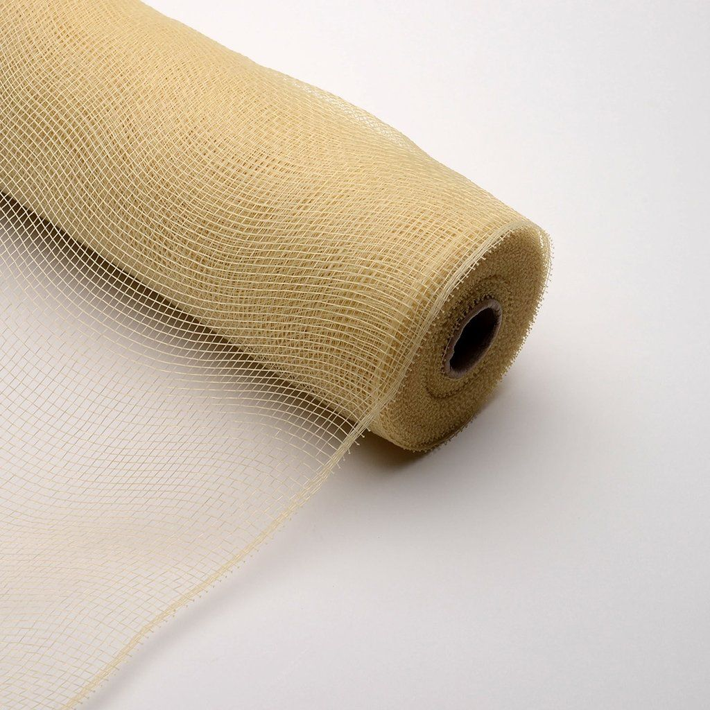 Tan Floral Mesh Wrap Solid Color 10 Inch X 10 Yards