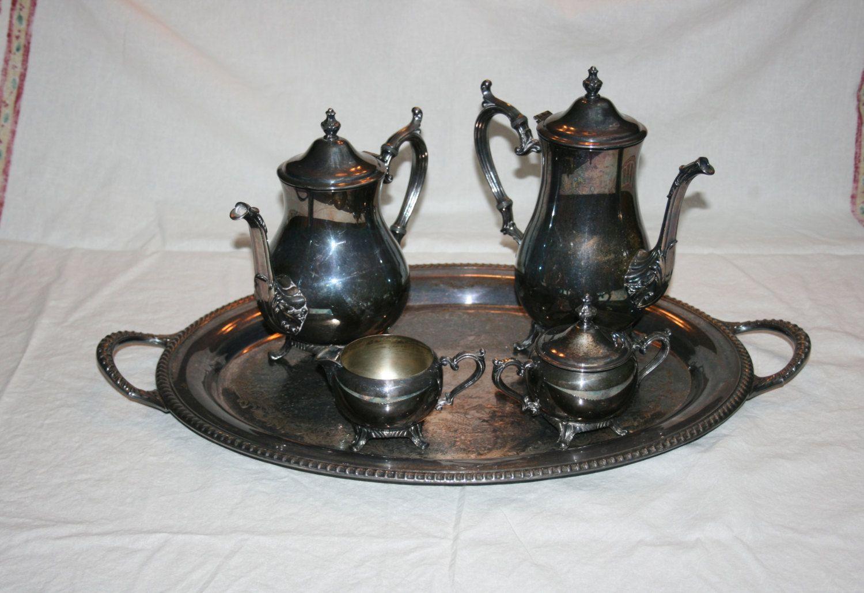 Vintage Wm Rodgers 800 Silver Plate Tea Set 1950u0027s - Coffee Pot Teapot Creamer Lidded Sugar & Vintage Wm Rodgers 800 Silver Plate Tea Set 1950u0027s - Coffee Pot ...