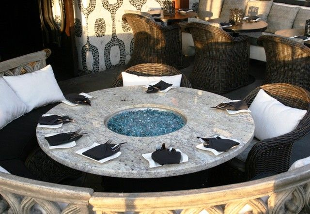 Glass Fire Pit Dining Table