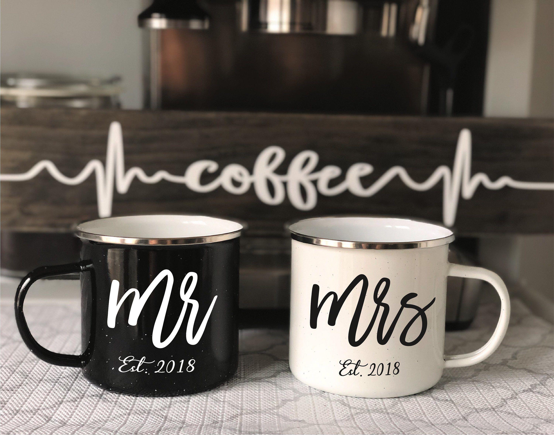 Engagement Gift Mug (Set of 2) | Campfire Mr & Mrs Mug | Bride and Groom Mug | Custom Mugs #custommugs