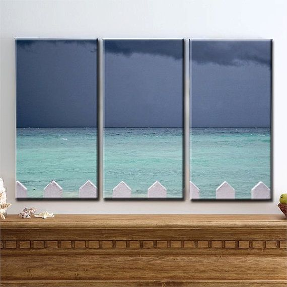 Some Paths - Canvas Art, Calm Before the Storm, Dark Sky, Storm Clouds, Turquoise, Ocean, Fence, Triptych, 3 Panel, Home Decor
