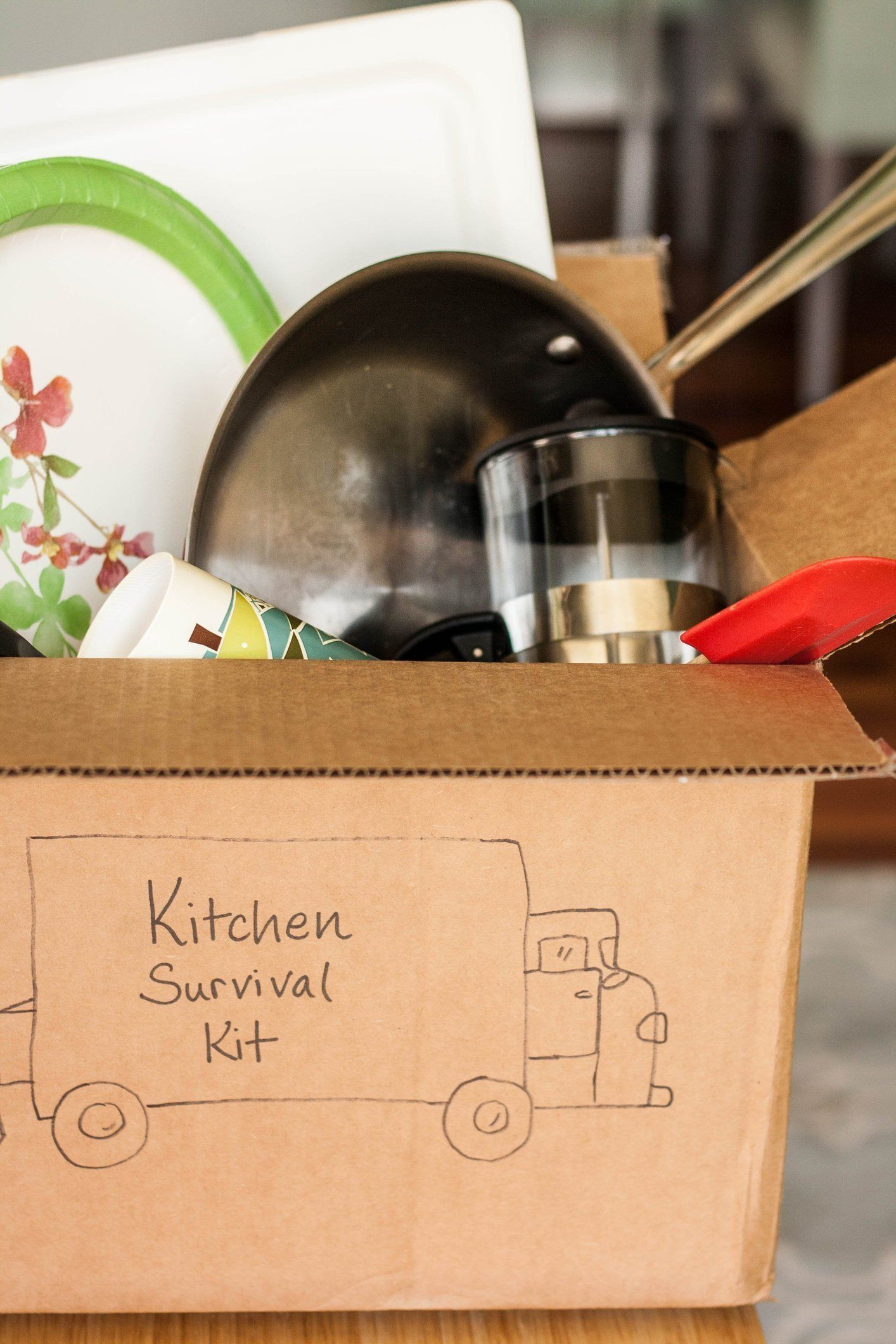 A Moving Day Kitchen Survival Box - I think this would be useful for a  makeshift
