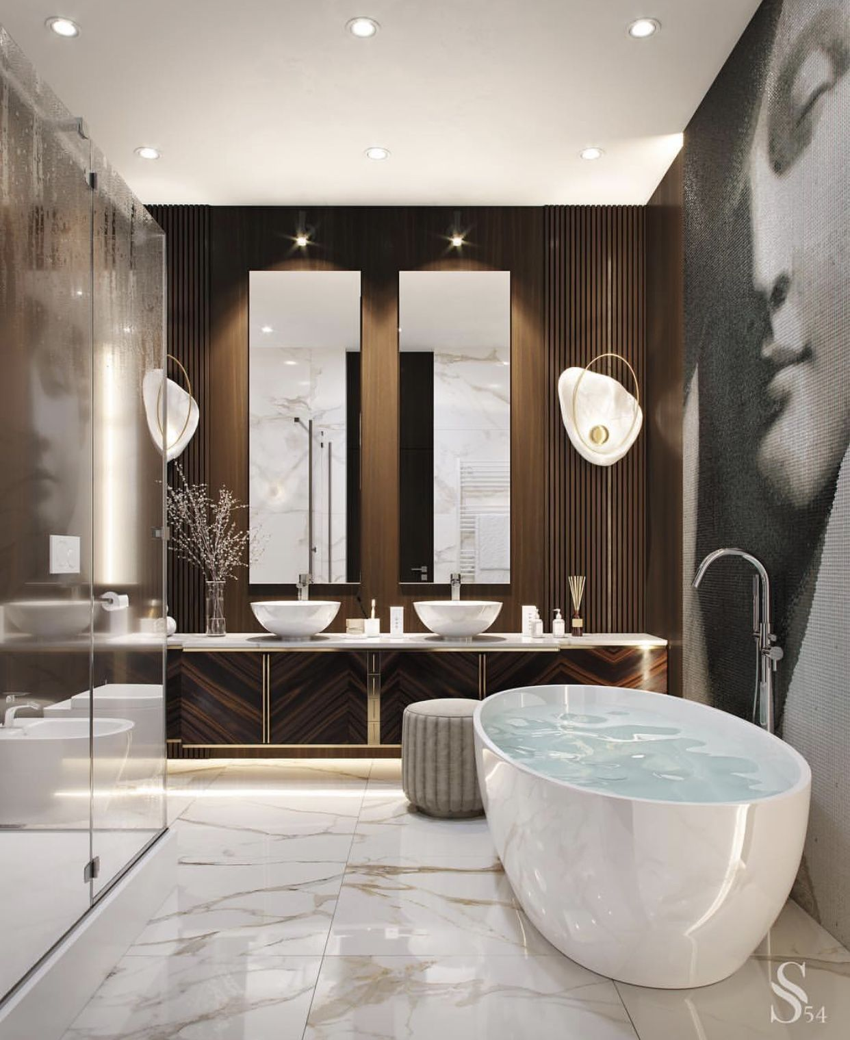 Want To Make A Stylish And Luxurious Bathroom Find What Is Trending By Covet Group Interior Design Glamorous Bathroom Bathroom Design Luxury Luxury Bathroom