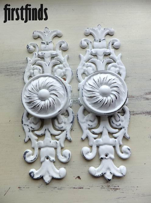 Charming 2 Large Disc Knobs Giant Ornate Plates Furniture By Firstfinds, $48.00