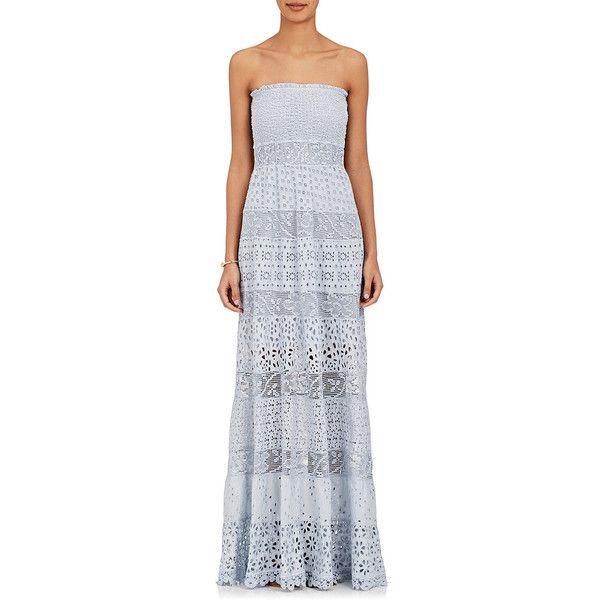 2704f7355f3a Temptation Positano Women's Dublino Cotton Strapless Maxi Dress ($535) ❤  liked on Polyvore featuring dresses, grey, gray strapless dress, smocked  maxi ...
