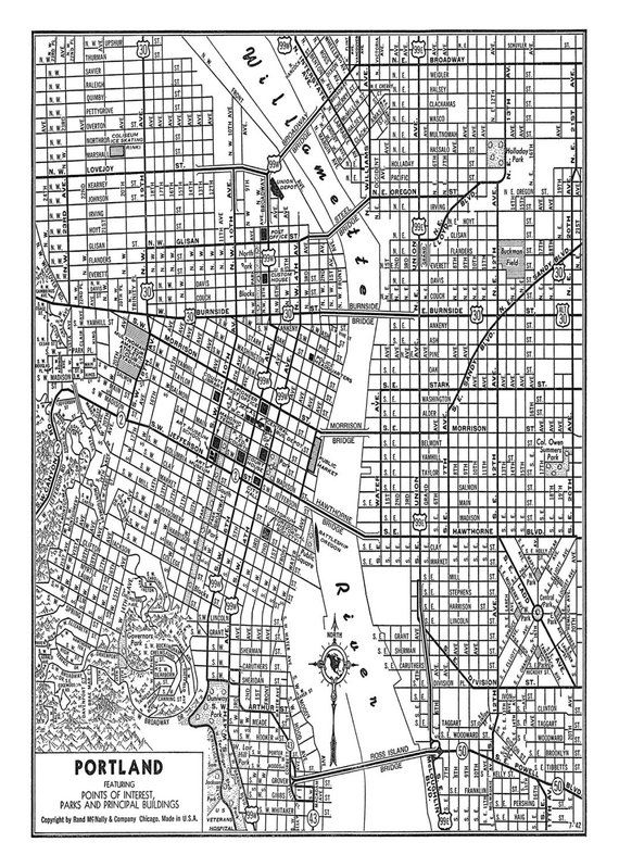 Portland Street Map Vintage Print Poster Black and White