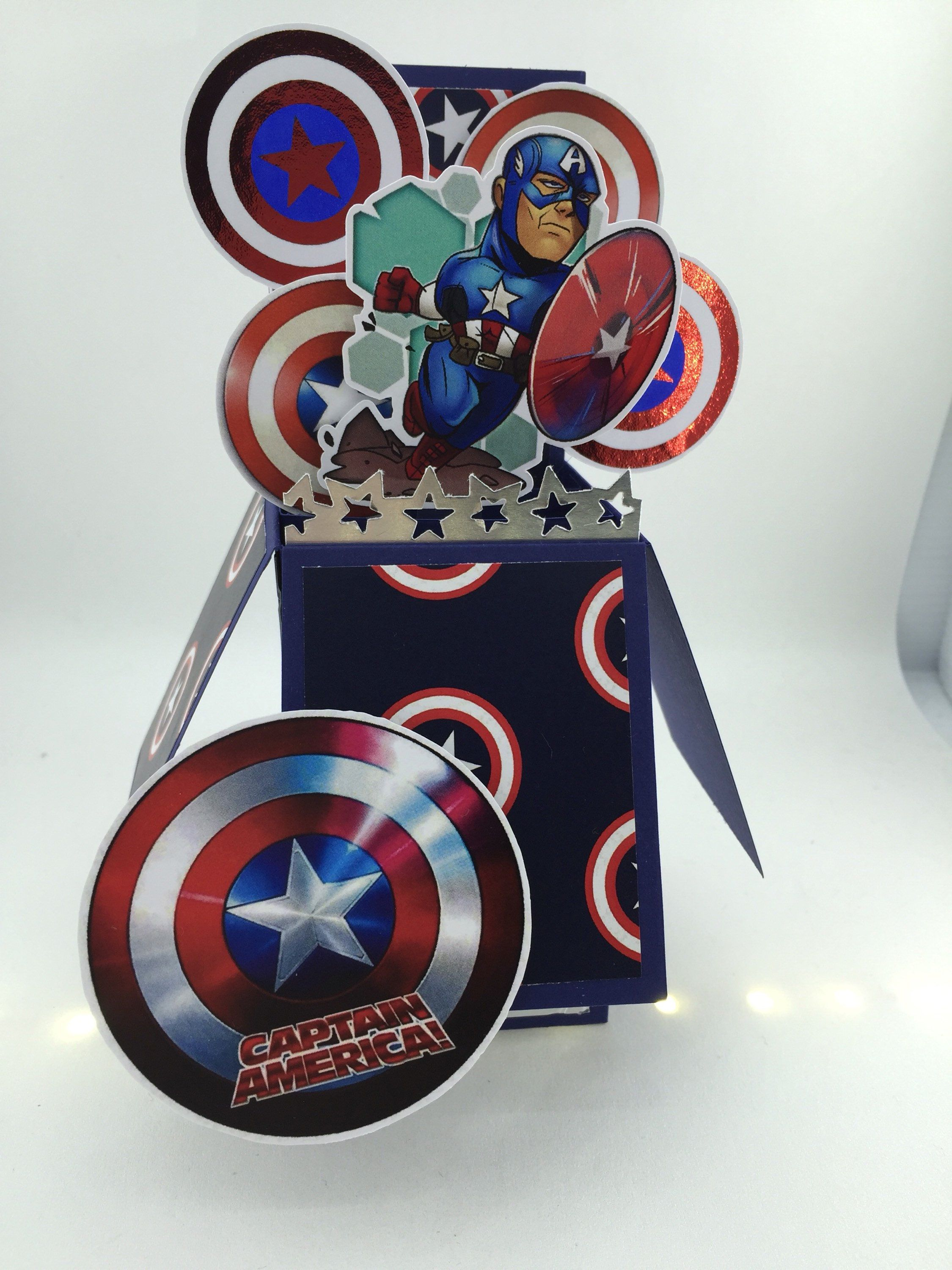 Loving My New Card Captain America 3d Pop Up Card Https Etsy Me 2iomsz0 Papergoods Blue Red Birthday Popup Card Marvel Cards Birthday Cards Diy Cards
