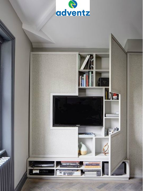 This Smartly Designed Stylish Tv Cabinet Bookshelf Is Found In A 1 Bhk Flat Located In West L Apartment Interior Diy Bedroom Storage Apartment Interior Design
