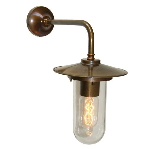 Manufactured in Ireland, this modern industrial wall light comes complete with crackled well glass and looks great when lit with an edison squirrel cage bulb.