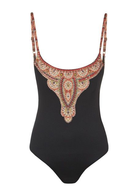 what a gorgeous one piece bathing suit! low cut and very flattering looking