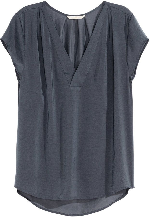 a80d277abce823 Shop for V-neck Satin Blouse - Dark gray - Ladies by H M at ShopStyle. Now  for Sold Out.