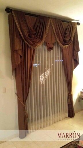 cortina con tergal curtain marron hermosillo cortinas diseo interiorismo - Cortinas Diseo