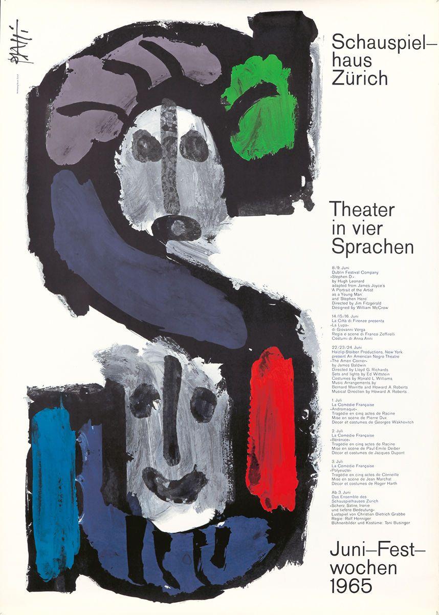 Original Vintage Poster Celestino Piatti Theater Swiss James Joyce Zeffirelli Vintage Posters Poster Love Posters