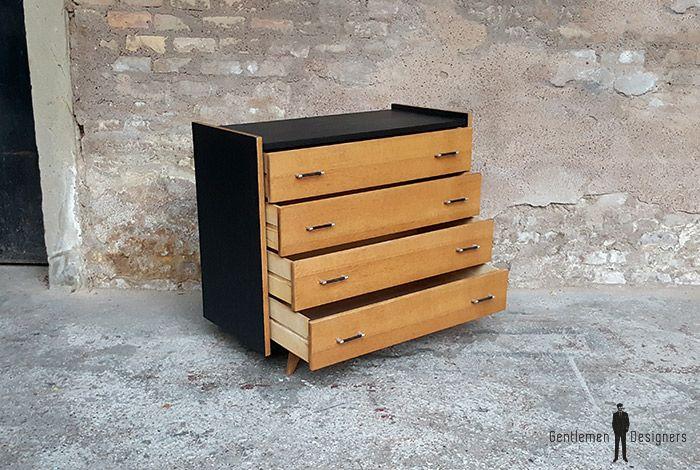 Commode 4 tiroirs / relooke chene dore pieds compas / vin-com-003