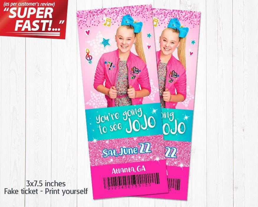 Jojo Siwa 2019 tour ticket card personalised
