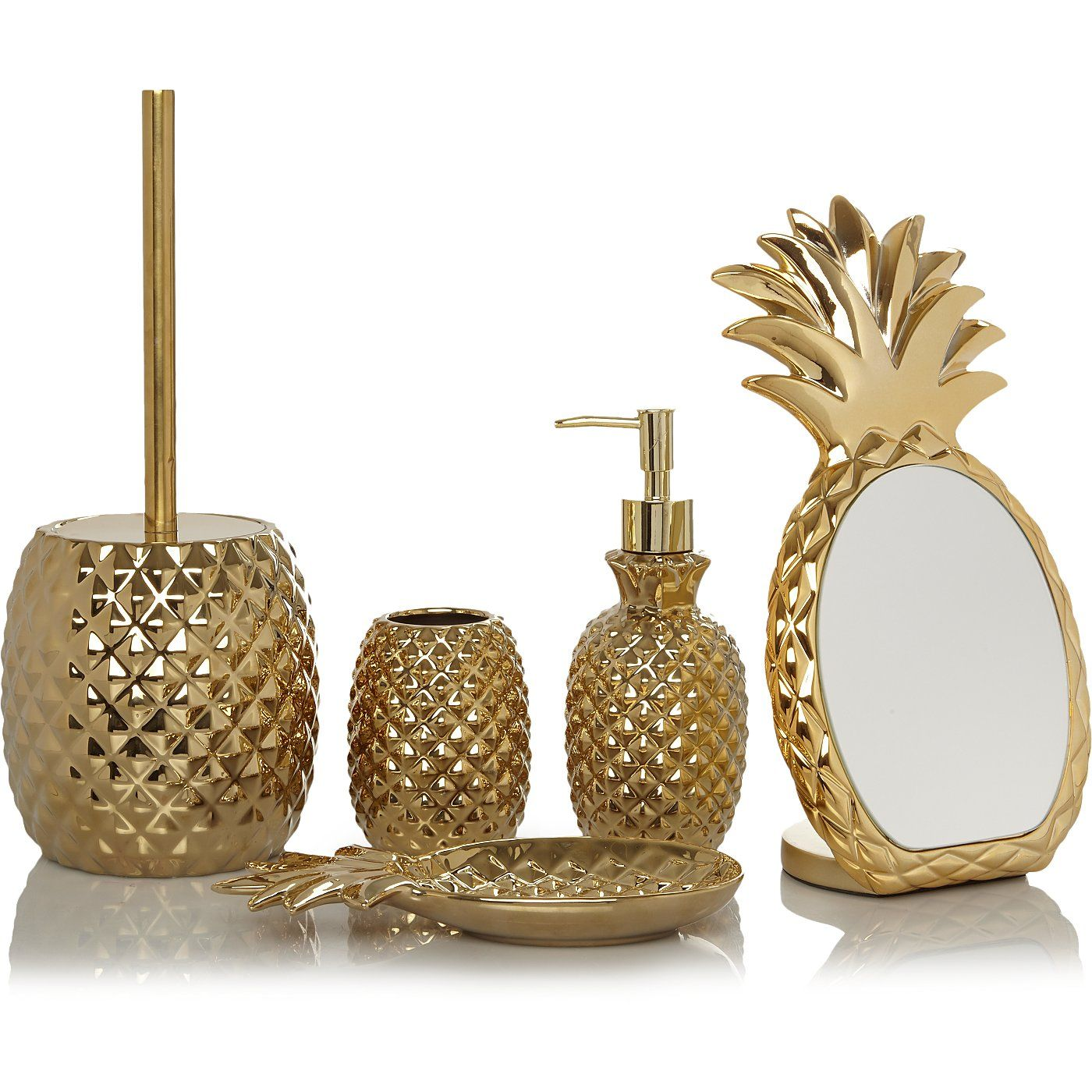 Gold Pineapple Bath Range  George  Gold pineapple, Bathroom