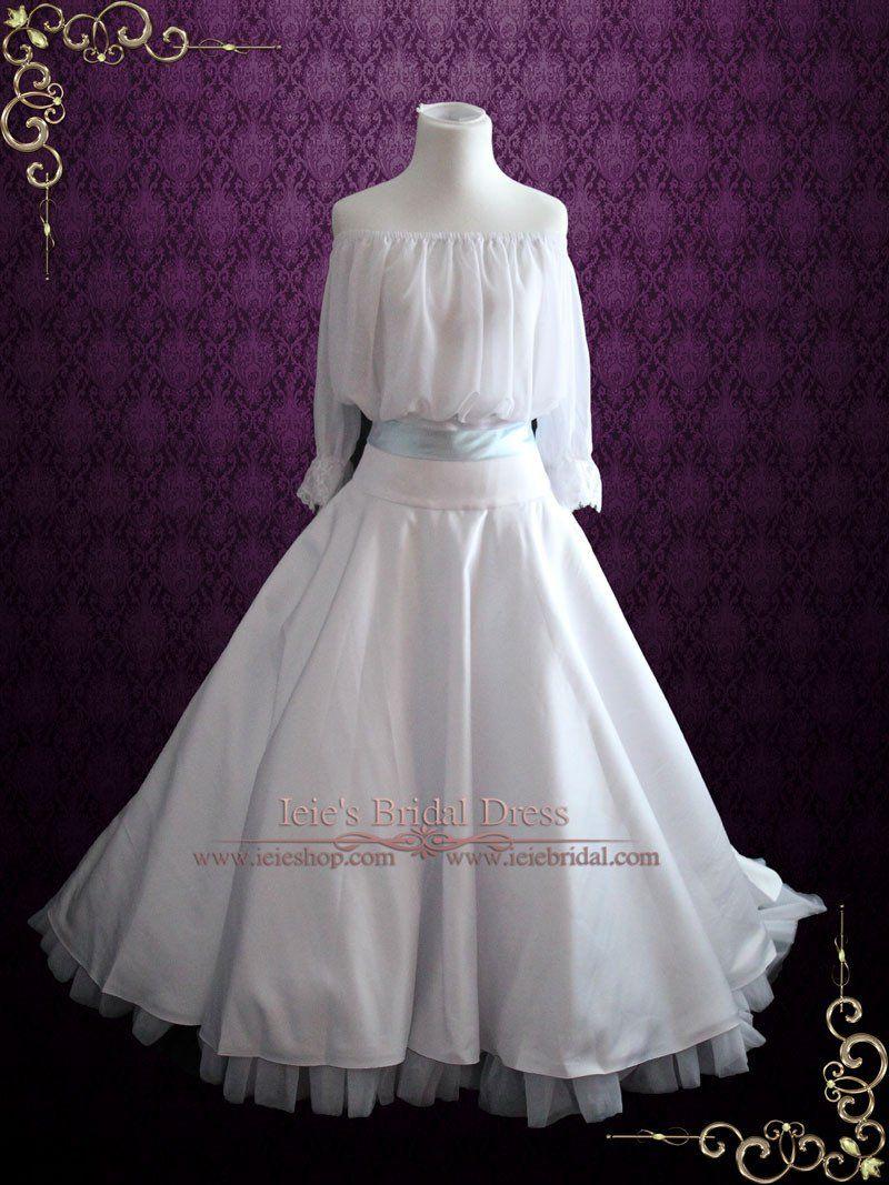 Gypsy off shoulder piece ball gown style wedding dress triana