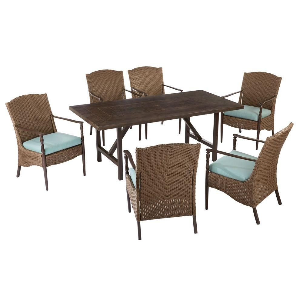 Hampton bay bolingbrook 7 piece patio dining set with sunbrella spectrum mist cushions d13106 7pc the home depot