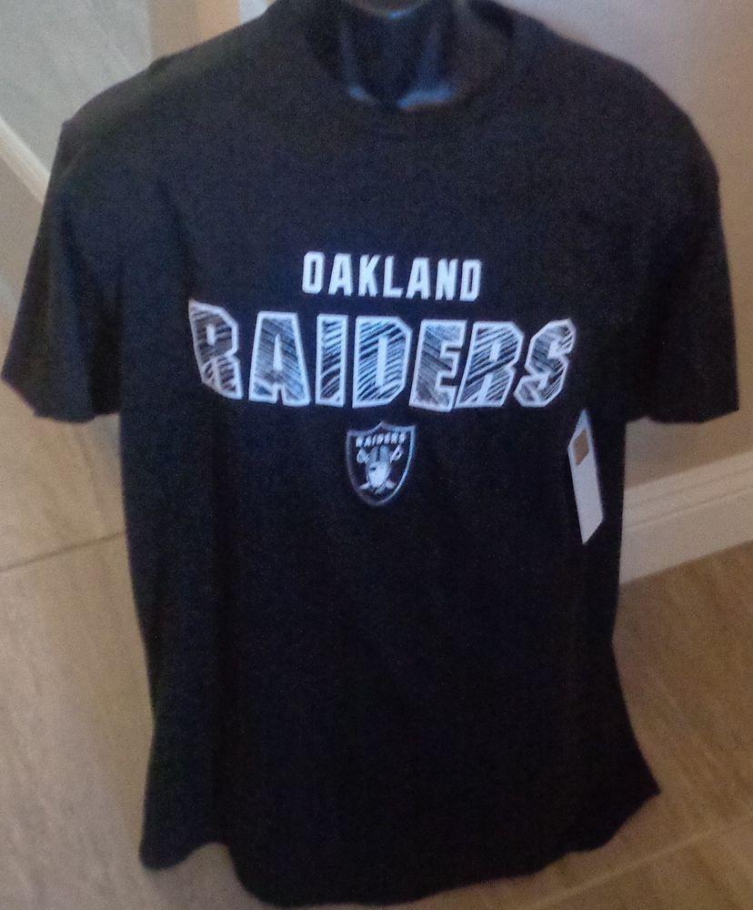 26ee4aa1367 OAKLAND RAIDERS BLACK T-SHIRT Adult Mens Large Short Sleeve  OaklandRaiders