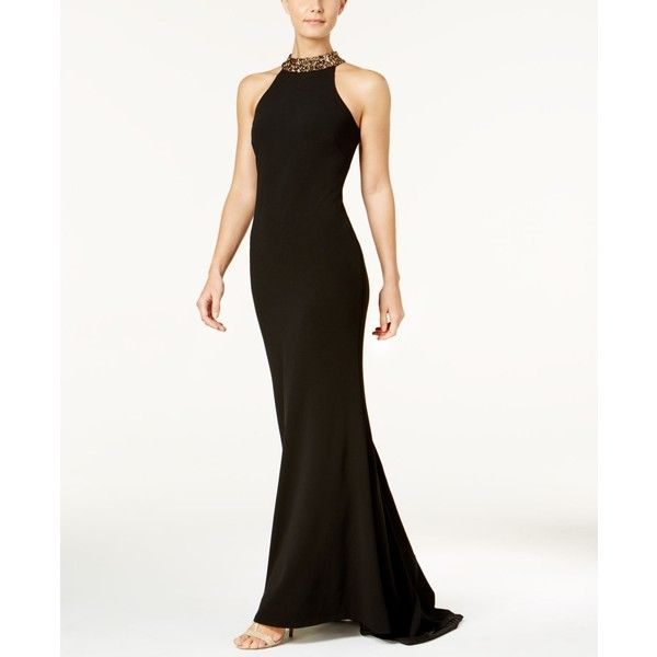37e0ccf28070 Calvin Klein Embellished Crepe Halter Gown (250 CAD) ❤ liked on Polyvore  featuring dresses