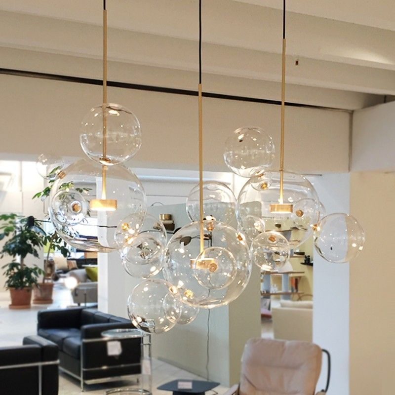 Clear Glass Ball Living Room Chandeliers Art Deco Lamp Shades