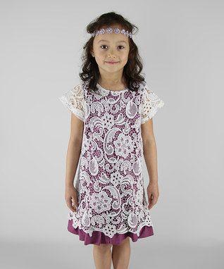 White & Plum Lace Overlay Dress - Infant, Toddler & Girls