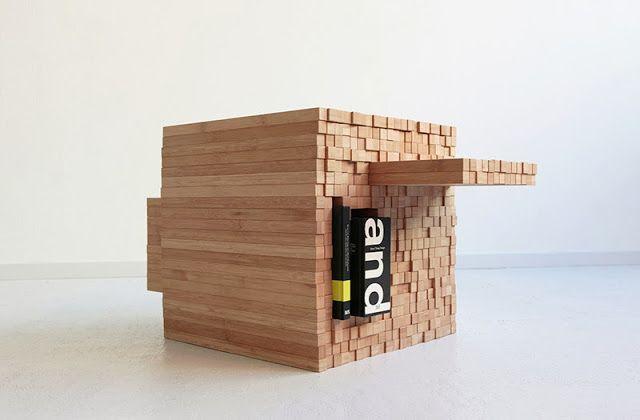 Mesa De Centro Con Listones De Madera, Pixel Table Diseño De Studio Intussen