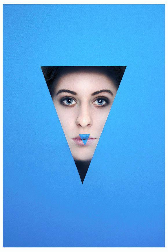 Valerie Kaczynski - graphic photography portrait blue triangle