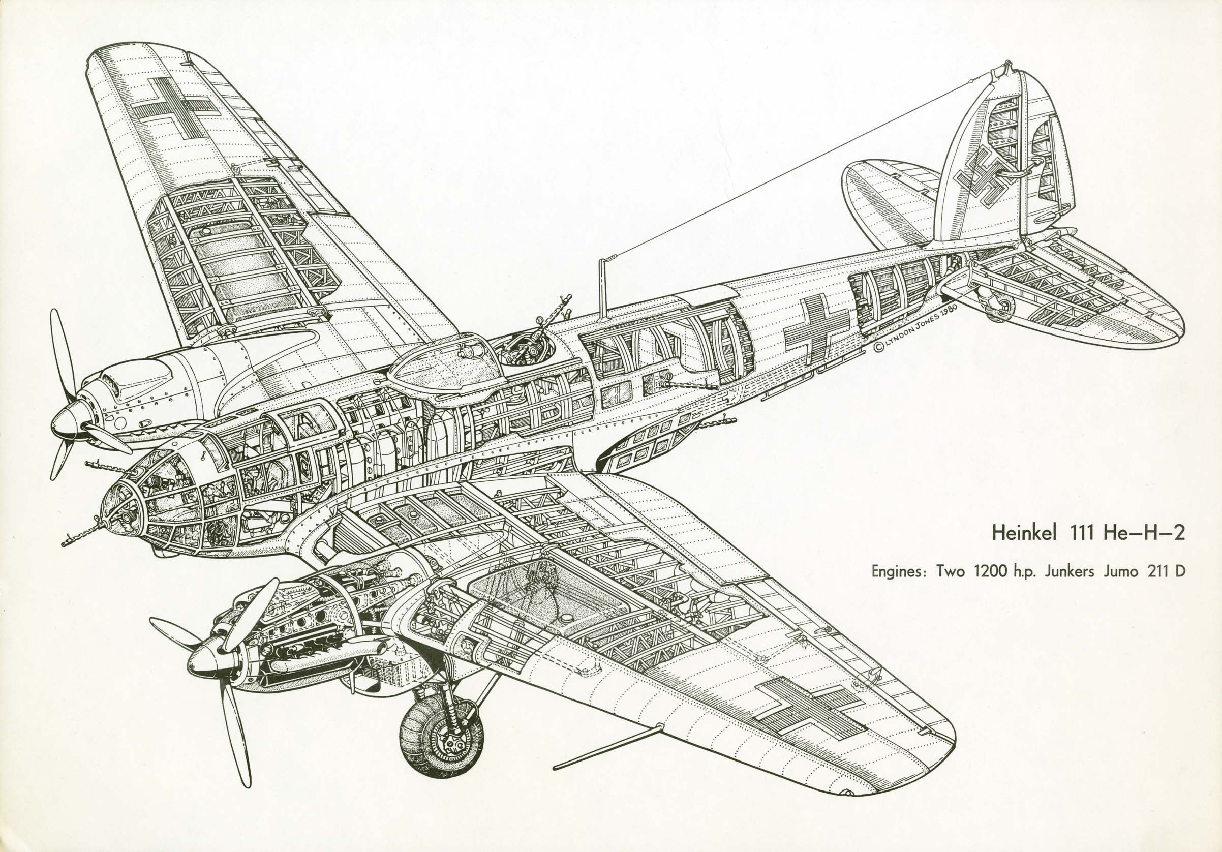 Heinkel He 111 Mediumer Cutaway