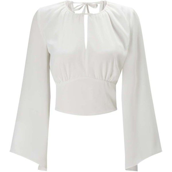 a619f27038893 Miss Selfridge Ivory Angel Sleeve Keyhole Blouse ( 49) ❤ liked on Polyvore  featuring tops