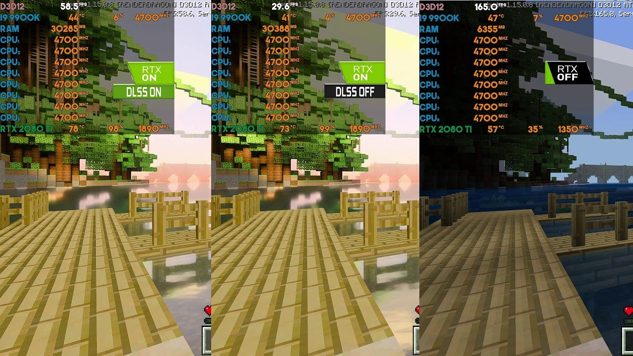 Minecraft Rtx Dlss 2 0 On Vs Off Fps Tests 2080 Ti 9900k 1440p In 2020 Fps Minecraft Game Codes