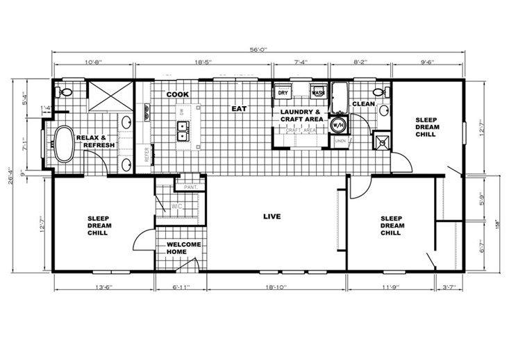 The 5628-4045-2 PATRIOT END ENTRY Floor Plan  This